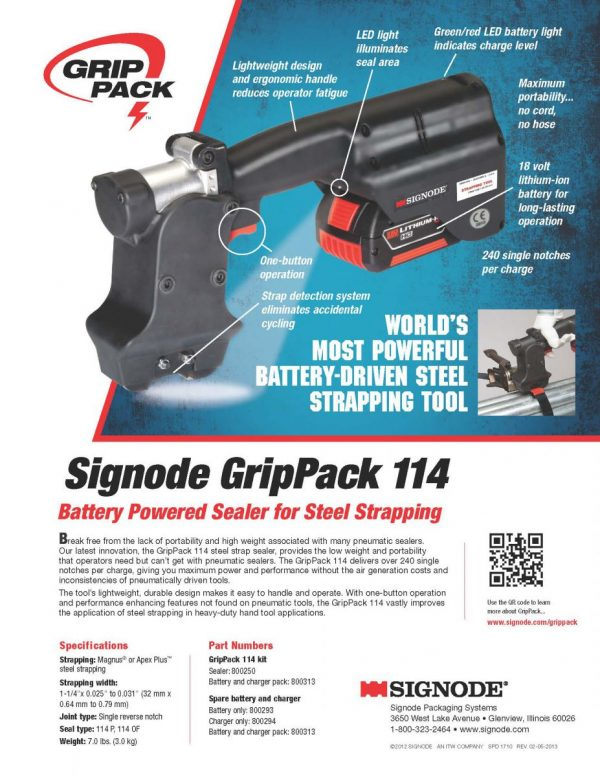 GripPack Sealer 114 Bbattery Powered Sealer for Steel Strapping